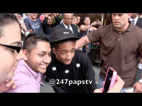 nyc - Will Smith and son Jaden Smith leaving there SOHO Hotel , they came out and signed autographs and took pictures with fans before going into there SUV .