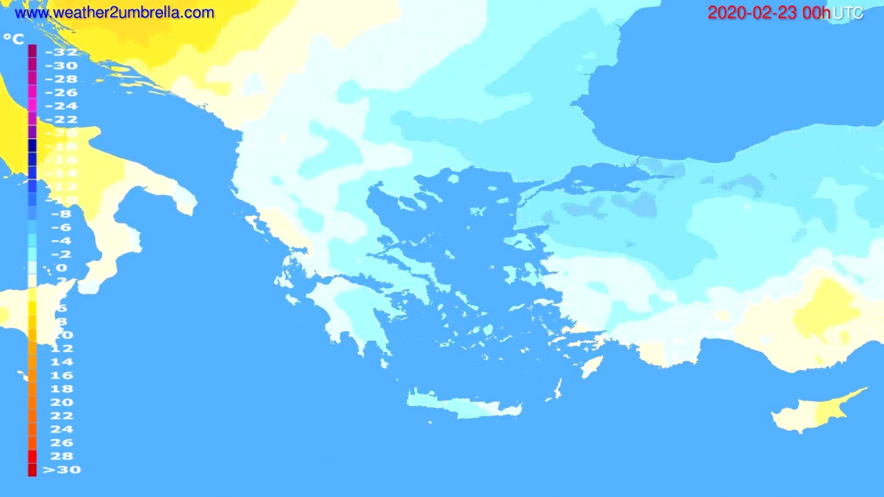 Temperature forecast Greece // modelrun: 00h UTC 2020-02-22