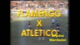 Chamada do jogo Flamengo X Atlético Mineiro pela semifinal da Copa União em 87. Resultado do jogo? Flamengo 1 X 0 Atlético...