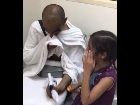 العرب اليوم - شاهد  رد فعل طفلة لحظة عودتها لحضن والدها بالمشاعر المقدسة