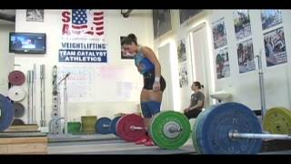 Daily Training 11-20-12 - Weightlifting training footage of Catalyst weightlifters. Steve block clean pull + block clean, Jessica clean + jerk, Alyssa cl