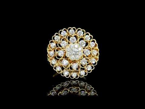 Lady's 18k Rose Gold 2.9ct (TDW) Floral Design Cluster Diamond Ring