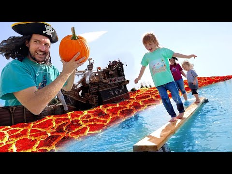 PiRATE Pumpkin DROP TEST! Spooky Family Challenge! hot lava beach dropping from 45ft (what's inside)