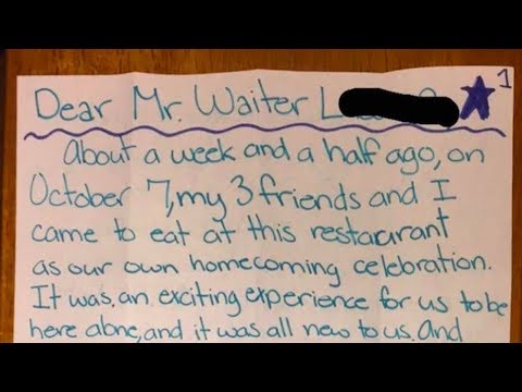 Teens Tips Waiter Only $3.28. And A Few Days Later This Note Is Handed To Him