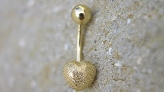 Adorable! Heart Shaped Yellow Solid Gold Belly Ring 14k