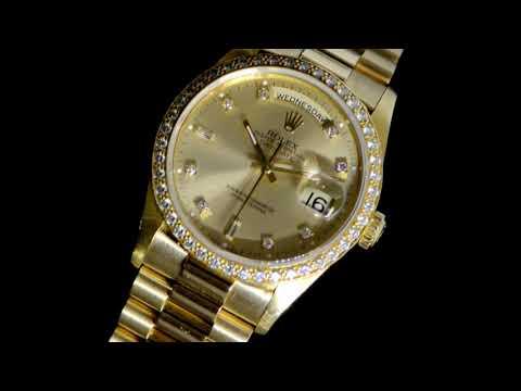 Men's 18k Yellow Gold Rolex Day-Date Automatic Wristwatch with Diamond Bezel