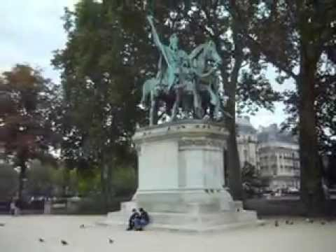 Statue of Charlemagne at Notre Dame Cathedral Paris
