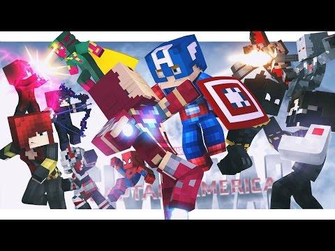 Minecraft Adventure - CAPTAIN AMERICA : CIVIL WAR, FULL MOVIE!