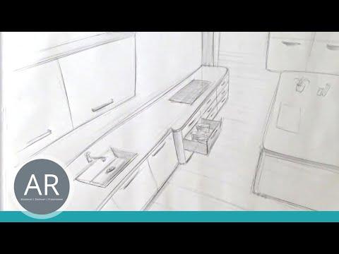 Zeichnen lernen, Akademie Ruhr, Tutorials, Raum in 3 Punkt Perspektive