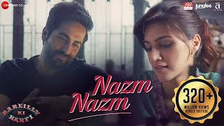 Presenting the lyrical video of 'Nazm Nazm' from the film 'Bareilly Ki Barfi' starring Kriti Sanon and Ayushmann Khurrana.Song Name: Nazm NazmSinger: ArkoMusic: ArkoLyrics: ArkoProgramming/Music Production/Keys: Aditya Dev Guitars: Krishna Pradhan Vocals & Guitars recording: Aditya Dev Mix: Aditya Dev Master: Shadaab Rayeen  Directed By: Ashwiny Iyer TiwariProduction House: Junglee Pictures & BR Studios  Produced By: Vineet Jain, Renu Ravi ChopraCo-produced By: Priti Shahani Creative Producer: Juno ChopraWritten By: Nitesh Tiwari, Shreyas Jain Director of Photography: Gavemic U Ary Music on Zee Music CompanyDownload from iTunes - http://bit.ly/2eZEYD3Available on Google Play Music - http://bit.ly/2v9SH0jStream It OnGaana - http://bit.ly/2ub9dITSaavn - http://bit.ly/2eZlaQcWynk - http://bit.ly/2f0eAc5Set Nazm Nazm as your caller tune - SMS BKBR2 To 57575Airtel Subscribers Dial 5432116308219Vodafone Subscribers Dial 5379718396Idea Subscribers Dial 567899718396Reliance Subscribers SMS CT 9718396 to 51234BSNL (South / East) Subscribers SMS BT 9718396 to 56700BSNL (North / West) Subscribers SMS BT 6729320 to 56700Aircel Subscribers SMS DT 6729320 to 53000Connect with us on :Twitter - https://www.twitter.com/ZeeMusicCompanyFacebook - https://www.facebook.com/zeemusiccompanyYouTube - http://bit.ly/TYZMC