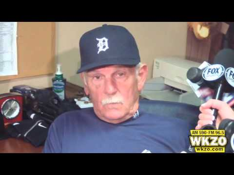 Tigers manager Jim Leyland speaks to the media after Detroit wins on Opening Day 8-3 over the New York Yankees