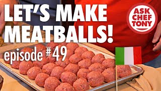 There are many meatball recipes. Tony shares his favorite family recipe here, which has a nice surprise inside each meatball, and he shows us the basics to make tender and delicious meatballs, no matter what twists you may want to add to your own.http://www.askcheftony.com