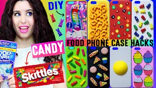 10 DIY Candy & Food Phone Case Hacks | Decorate iPhone Cases w/ Skittles, Gummy Bears, Mac-N-Cheese! by GlitterForever17