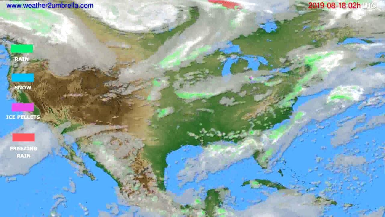 Precipitation forecast USA & Canada // modelrun: 00h UTC 2019-08-16
