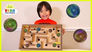 DIY Homemade Marble Labyrinth Maze Board Game from cardboard