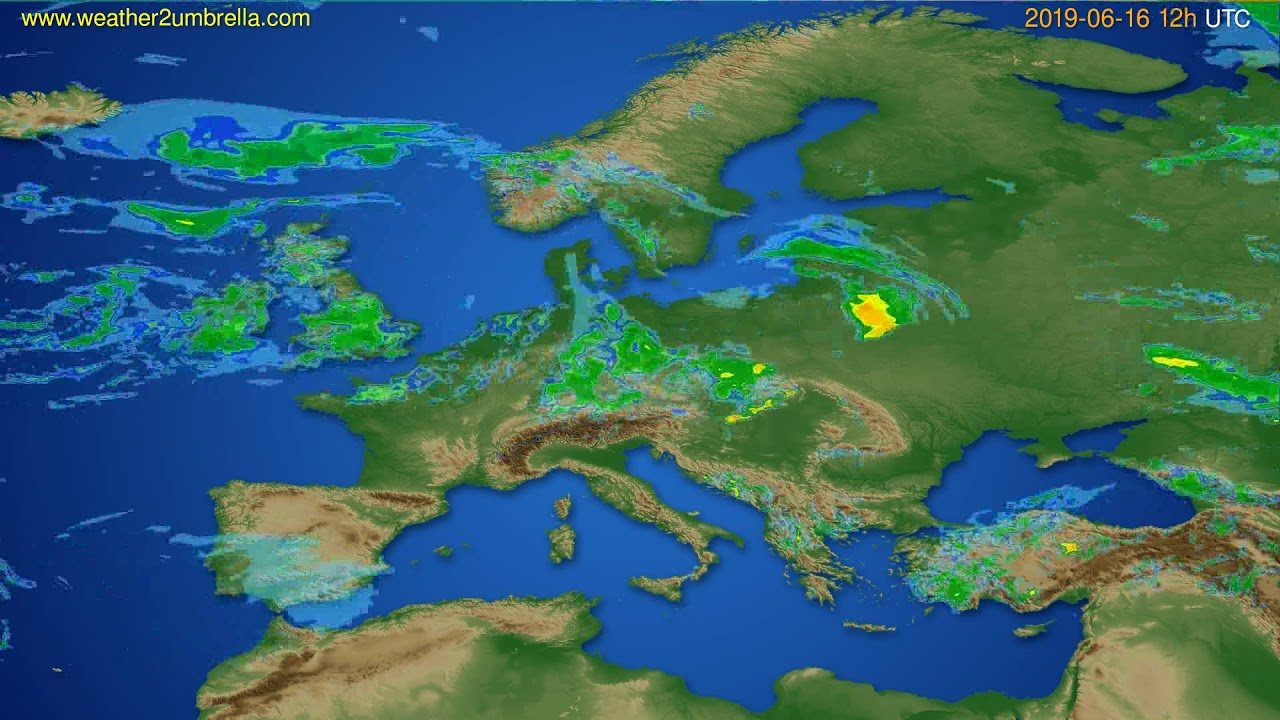 Radar forecast Europe // modelrun: 00h UTC 2019-06-16