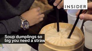 Drunken Dumplings in NYC makes soup dumplings so big you need a straw.