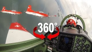 SUBSCRIBE: http://bit.ly/BlickTube 360° movie from the cockpit of the Swiss Air Force PC-7 TEAM. Nine PC-7 planes show ...
