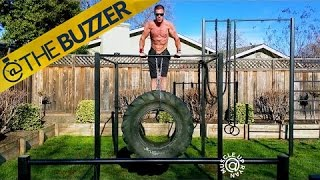 This guy is doing dips with a monster truck tire by @The Buzzer