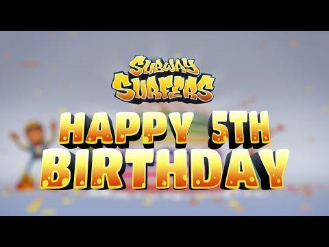 Subway Surfers - HAPPY BIRTHDAY! 5th Birthday Animation by SYBO (видео)