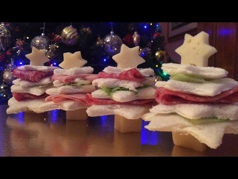 alberelli con pane da tramezzini - antipasti natalizi