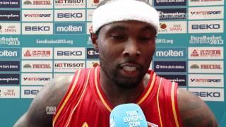 Postgame T. Rice, A. Pipan, MKD-MNE EuroBasket 2013