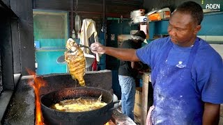 Some beach street food at Fort Clarence Beach in Kingston, Jamaica. Seafood options include fish and lobster, the medium sized fish I had was 600 JMD (5 ...