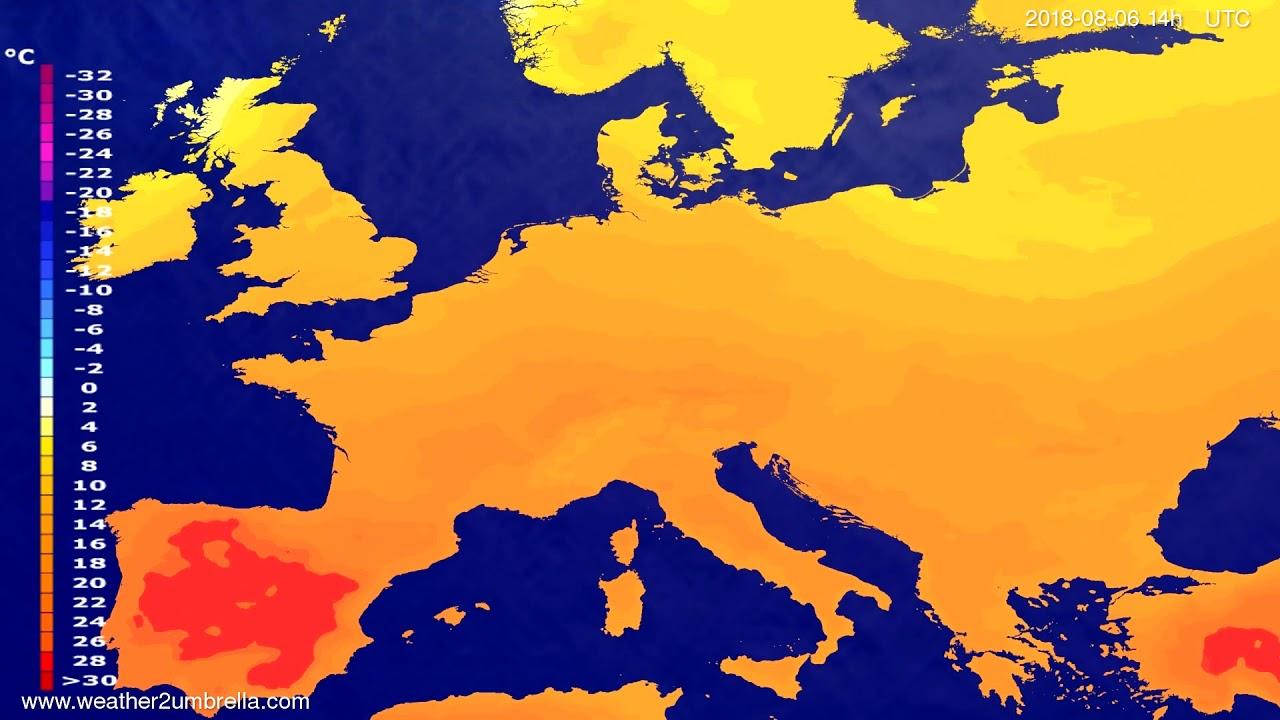 Temperature forecast Europe 2018-08-02
