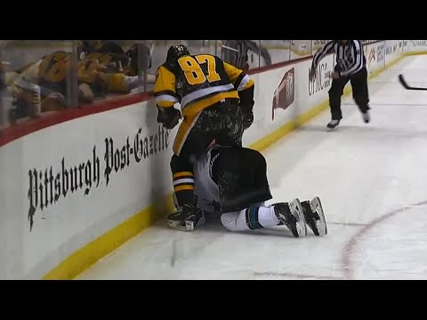 Video: Crosby frustrated after blatant slew foot by Karlsson