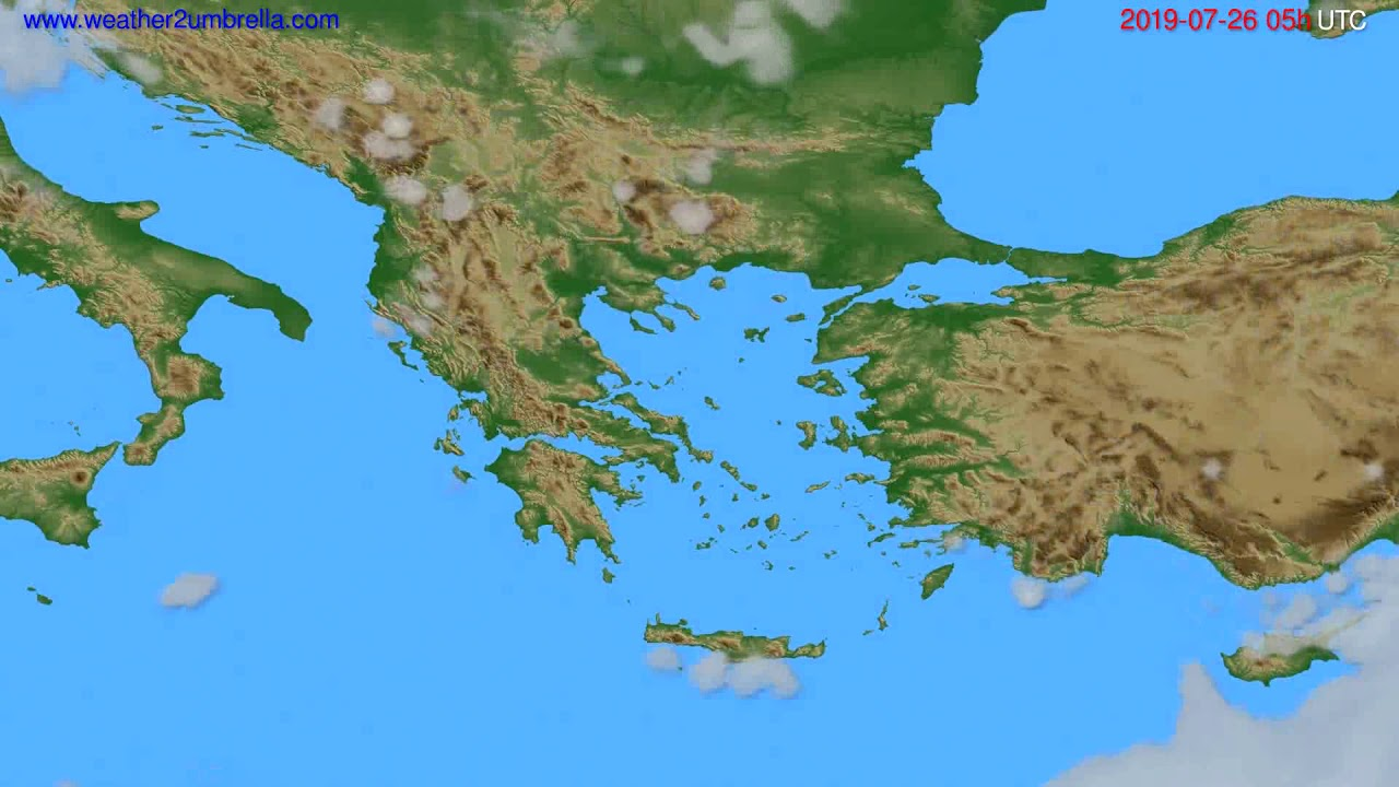 Cloud forecast Greece // modelrun: 00h UTC 2019-07-24