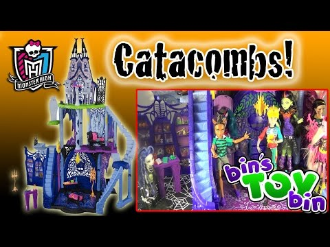 Bin - It's Halloween! To celebrate we open and give you a tour of the HUGE Monster High CATACOMBS Playset! This giant castle is over 4 ft. tall with tons of cool features and accessories and room...