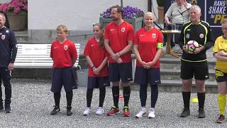 14 June, 2017: Norwegian Crown Prince Family hosted a friendship match in football between Team Skaugum and LSK Unified at Skaugum Arena. No copyright intended.