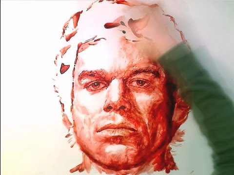 DEXTER Art With BLOOD!! - ThePortraitArt Video Art Drawing Video - See Description For My Art Tools