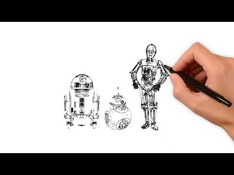 R2D2 - BB8 - C3PO Drawing Effect