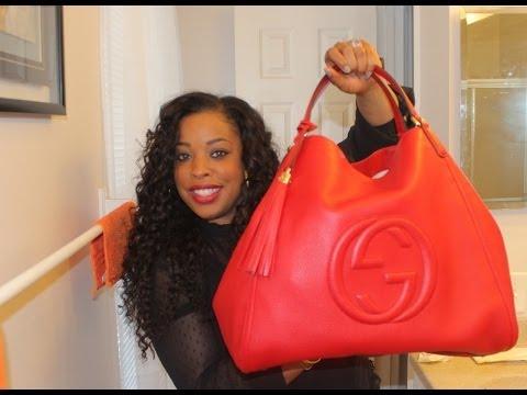 Gucci Soho Leather Shoulder Bag  **in red**