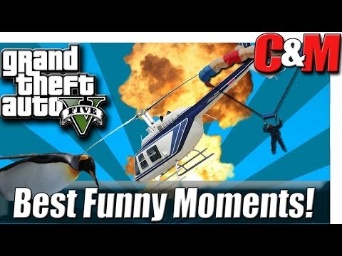 GTA 5 Funny Moments  Nip Slip, Penguin Dive, Car Fail and Wolf Sucks!