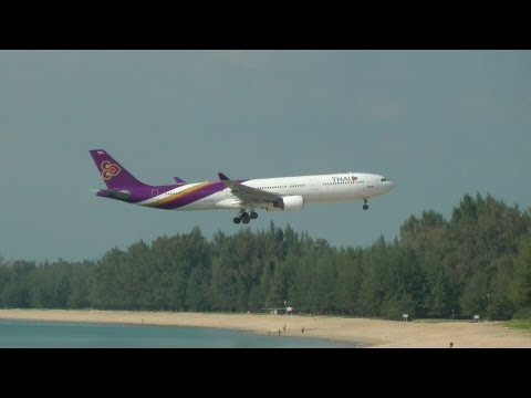 Beautiful Phuket Beach Low Approach Plane Spotting – Thai Airways A330