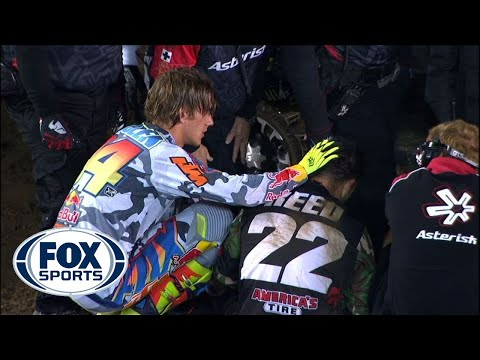 Reed - SX: On the final lap Chad Reed rides up the back of Ken Roczen's rear wheel and crashes hard into the face of a jump. Chad Reed Tweet's, So not the news I wa...