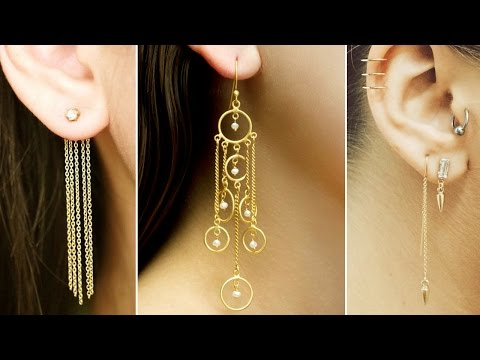 Long Line Chain Earrings Gold plated Fashion Drop Dangle Earring
