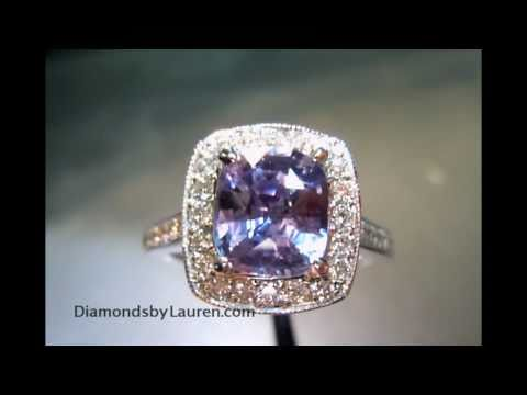 1.89ct Natural Lavendar Cushion Sapphire 14Kt White Gold Halo Ring GIA