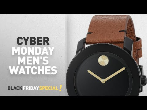 , title : 'Cyber Monday Movado Watches : Movado Men's Swiss Quartz Stainless Steel and Leather Watch, Color:'