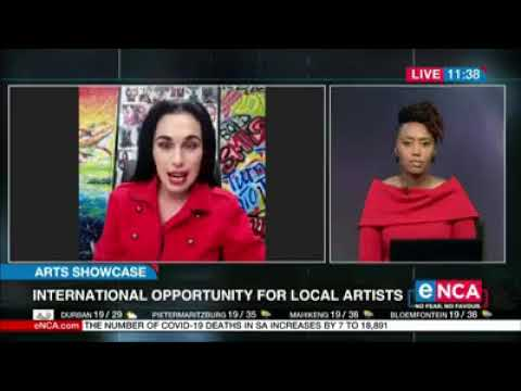 Elsubie Verlinden Live on Enca News discussing the 10th Annual International ARTS Talent Showcase