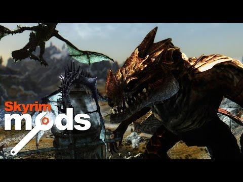 Giant Skyrim Godzilla VS Dragon Horde - Top 5 Skyrim Mods of the Week