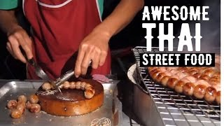 Street Food In Thailand. My Dinner Today 1 / Thai North Eastern Sausage. (Thailand, Chiang Mai)