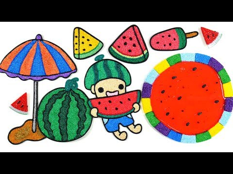 Coloring watermelon with Foam clay for Children |parasol, Watermelon ice cream