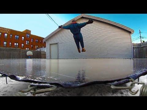 Minnesota Cold Frozen Trampoline