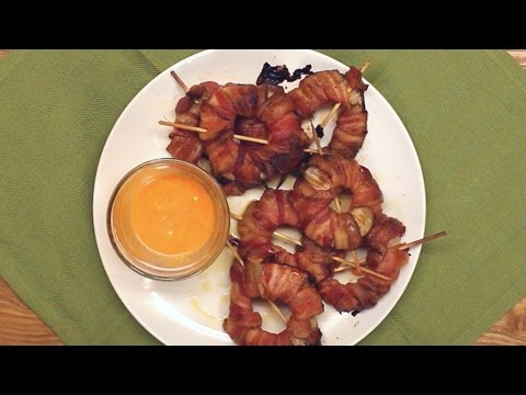 bacon - wrapped sriracha onion rings