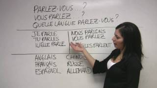 """In this French lesson, Sonia explains how to state what languages you speak and how to ask others about the same. The French verb """"parler"""" -- to speak -- is reviewed. . Presented by Diplomat Language School, in Toronto, Canada."""