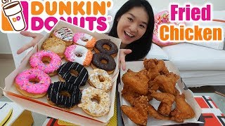 """Eating yummy donuts from Dunkin' Donuts and Fried Chicken from Old Chang Kee! Ordered 12 donuts and 12 fried chicken wings. I alternated between eating the sweet donuts and savory fried chicken. It was really satisfying! Personally, I prefer Dunkin' Donuts over Krispy Kreme Doughnuts as I find Krispy Kreme doughnuts a little too sweet. Which do you prefer??I hope you enjoy this donuts mukbang eating show and food review. Thank you for watching!Donut flavors and timeline:1:03 Salted Caramel Chocolate (Eating Starts)4:40 Cookies and Cream7:55 Heart shaped donut (Chocolate filling)11:56 Flag (White chocolate frosted topped with rainbow sprinkles)15:19 Peanut and Jelly19:04 Almond White Chocolate23:36 Strawberry Frosted40:46 Eating endsSubscribe to my channel: https://www.youtube.com/peggieneo?sub_confirmation=1Support my channel on Patreon https://www.patreon.com/peggieneoCheck out other eating shows of mine!Fried Chicken Mukbang ShowsKFC Curry Crunch Feast https://youtu.be/3FfXPoyrj8AWingstop Chicken Wings Feast https://youtu.be/WI8q9AxCHVsJollibee Fried Chicken Feast https://youtu.be/vNjgW-sOo3EKFC Hot Devil Wings https://youtu.be/9tMu3xSWY7gFried Food Feast (Old Chang Kee) https://youtu.be/GoSc61ImLSYSweet Mukbang ShowsKrispy Kreme Doughnuts & Ice Cream https://youtu.be/dbCyJP_n5gkChocolate & Mango Cake https://youtu.be/rGG5dIEm5YEKrispy Kreme Doughnut Burgers https://youtu.be/eYDWJEp9E1QConnect with me:Facebook https://www.facebook.com/peggieeatsTwitter https://twitter.com/Peggie_NeoInstagram https://www.instagram.com/neopeggie/Music""""Vicious"""" Kevin MacLeod (incompetech.com)Licensed under Creative Commons: By Attribution 3.0 Licensehttp://creativecommons.org/licenses/by/3.0/"""
