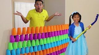 Wendy Pretend Play STACKING Game with Giant Cup Wall